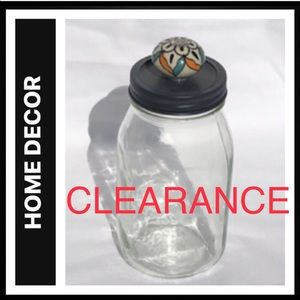 2Qt Glass Jar with Metal Lid and Decorative Knob